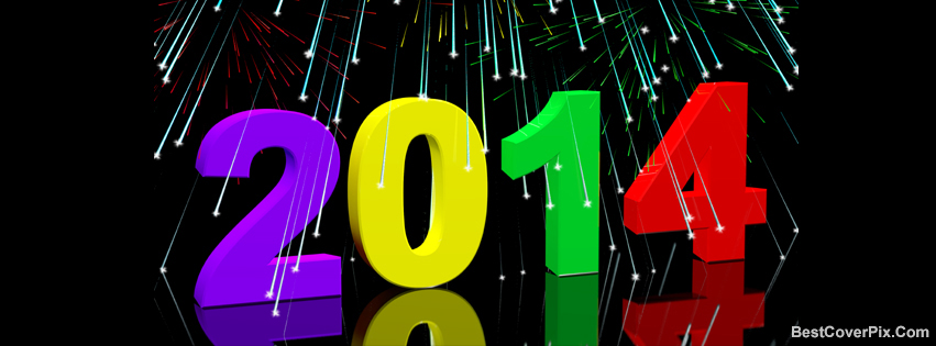 happy new year 2014 3d black background facebook cover photos