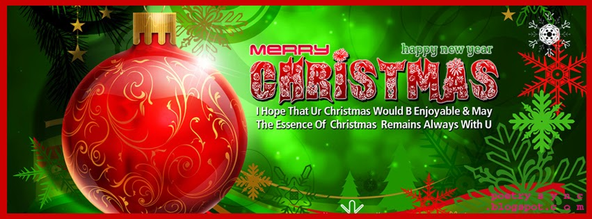 Happy New Year and Merry Christmas Wishing Facebook Cover Photo