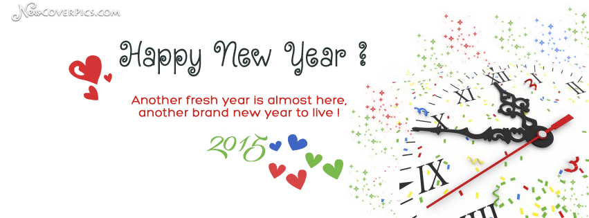 Happy New Year Clock fb Timeline Cover Photo