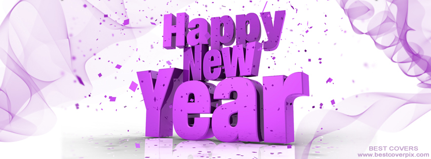 """ Happy New Year "" 2K19 Purple FB Cover Photo with 3D Effects"