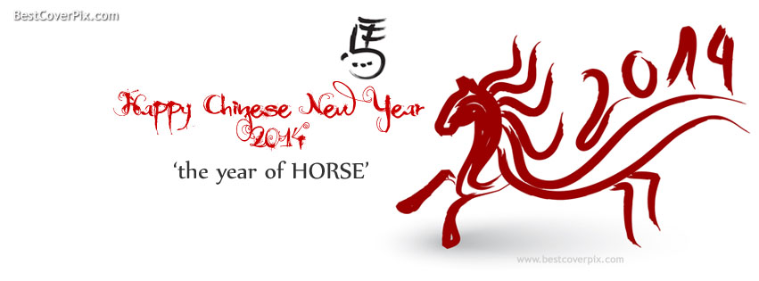 Year of Horse , Chinese Happy New Year Best Cover for Facebook