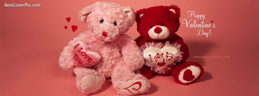 Cute Valentine's Day Teddy Bear Facebook Cover Photos