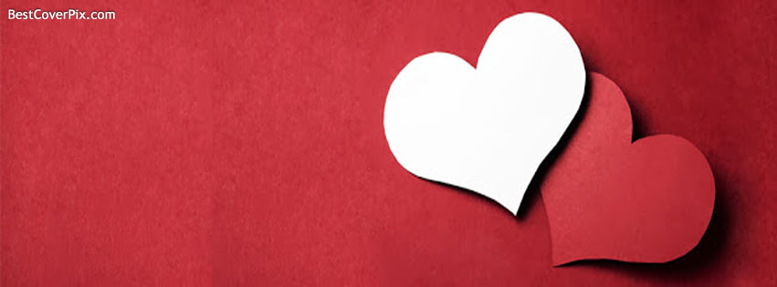 cute red and white heart fb profile cover