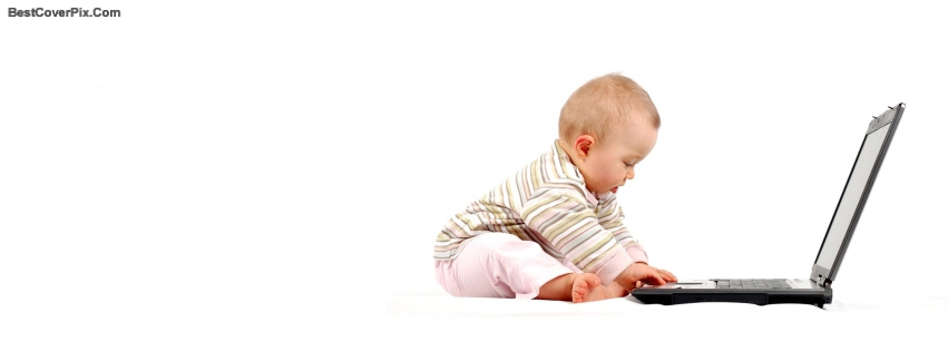 Baby using computer Facebook cover