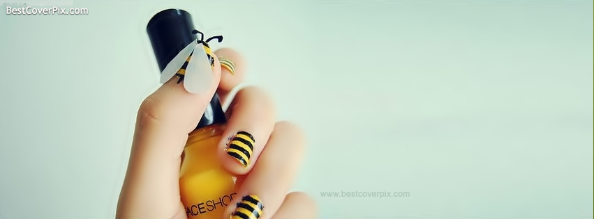 cute bee nail art fb cover photo