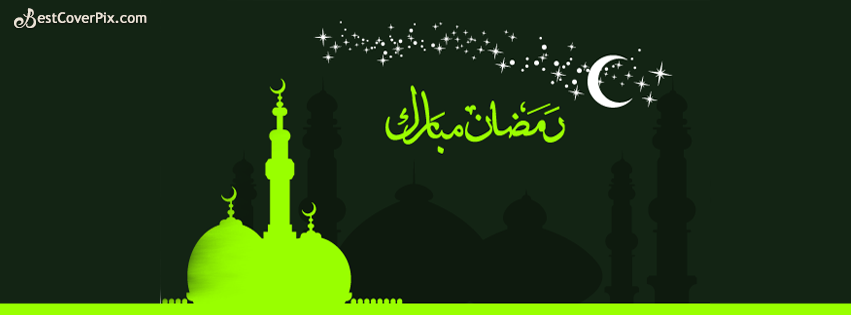 Ramadan Chand Mubarak Facebook Cover - Moon night