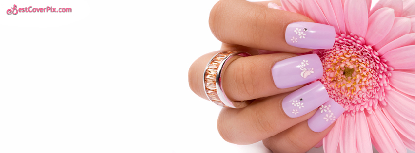 Cute Nail Pink Art with Flower In Hand Timeline Profile Cover Photo