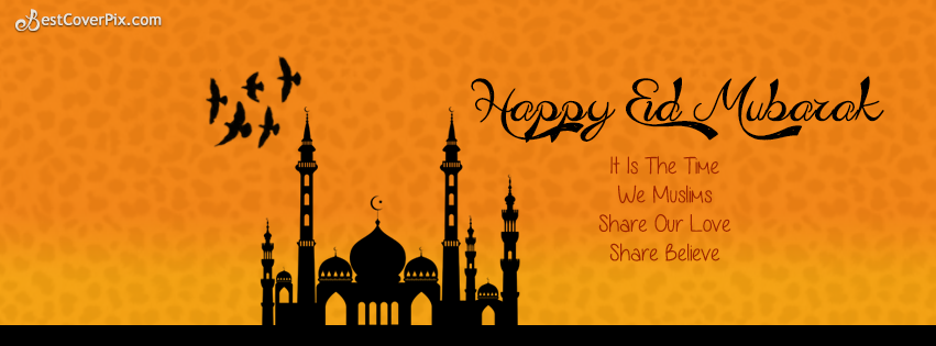 Happy Blessed Eid Mubarak Facebook Timeline Cover Photo