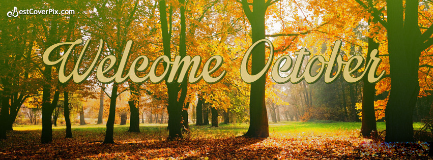 Welcome October Autumn Facebook Cover Photo