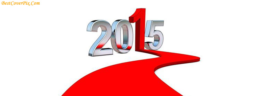 Happy New Year 2015 3D Facebook Covers in Red n White