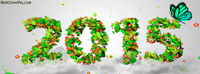 Happy New Year 2015 Greetings in Green on FB Cover Photos