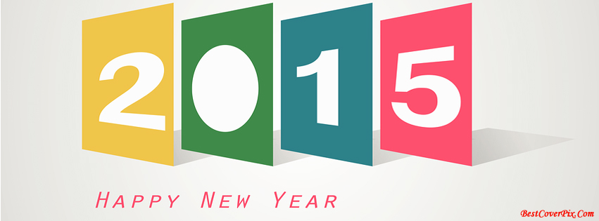 Happy New Year 2015 Facebook Covers in Colorful 3D Blocks Style