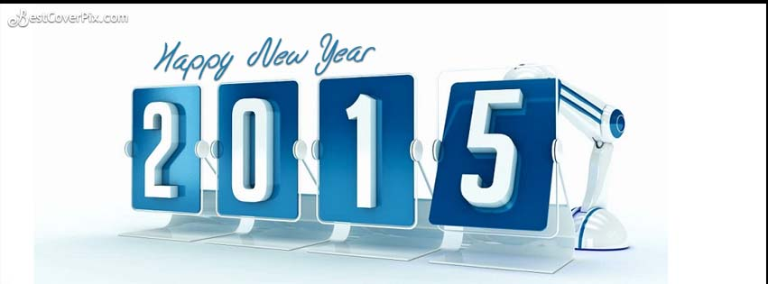Digital 3d Cool 2015 Happy New Year FB Cover Banner for Timeline