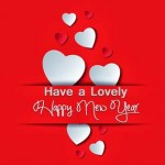 Happy new year with love 2015 Red Facebook cover