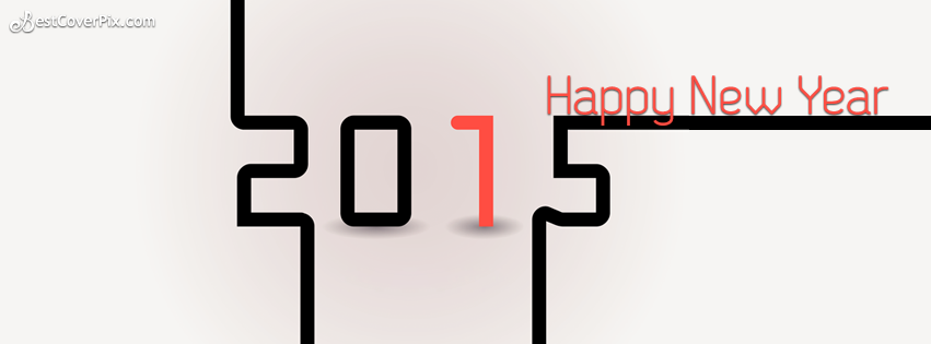 Stylish like puzzle 2015 happy New Year wish facebook cover