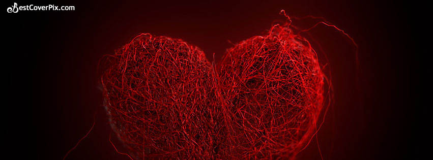 Red Threaded Heart | Pure Love Photo Cover For Valentines Day