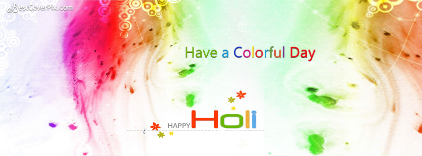 colorful happy holi fb cover