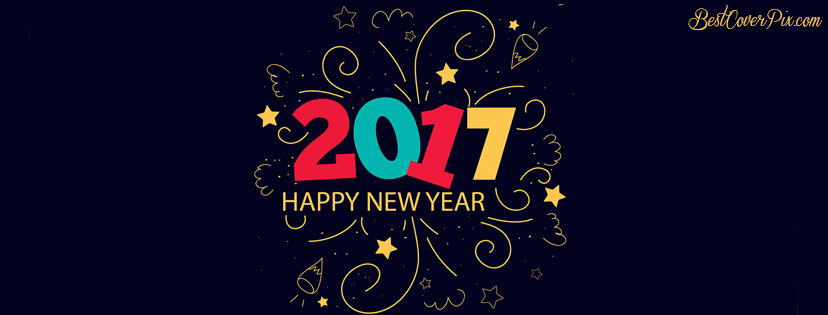 2017 elegant facebook cover for Happy New year
