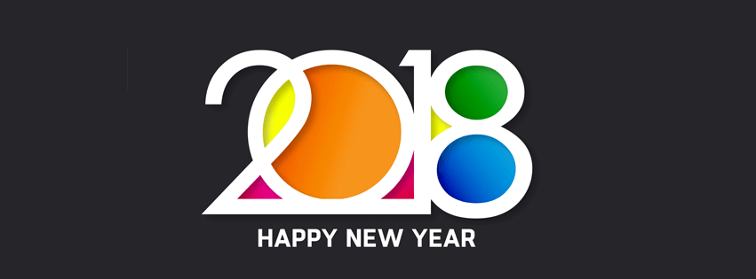 3D New Year 2018 Facebook Timeline cover banner colorful