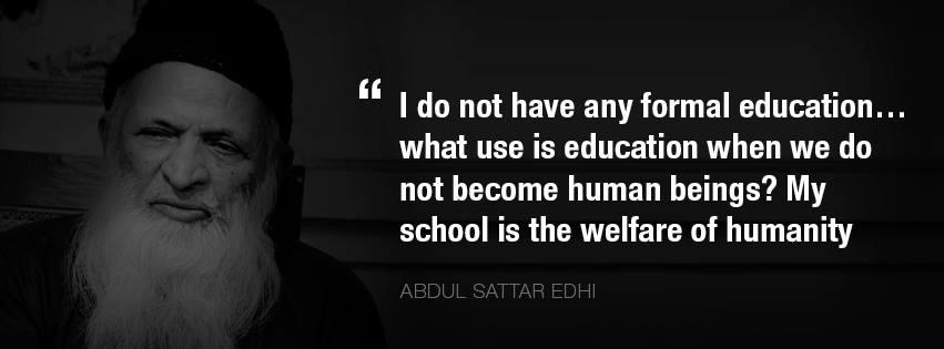 Abdul Sattar Edhi Quotes Facebook Cover Images to Tribute Him