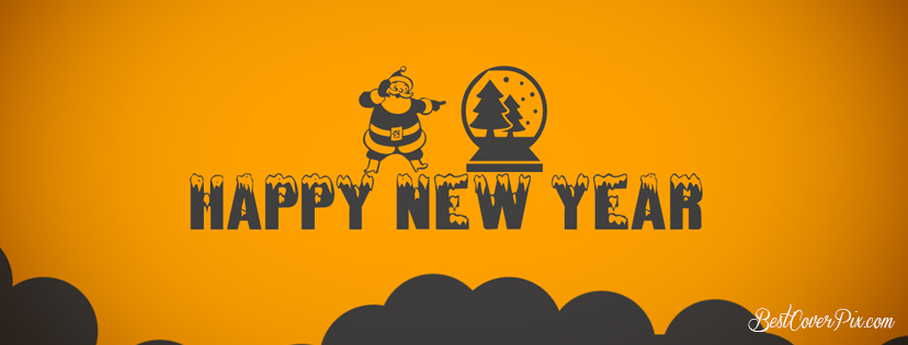 Happy New Year 2019 Cover Photo with Xmas Gold BG