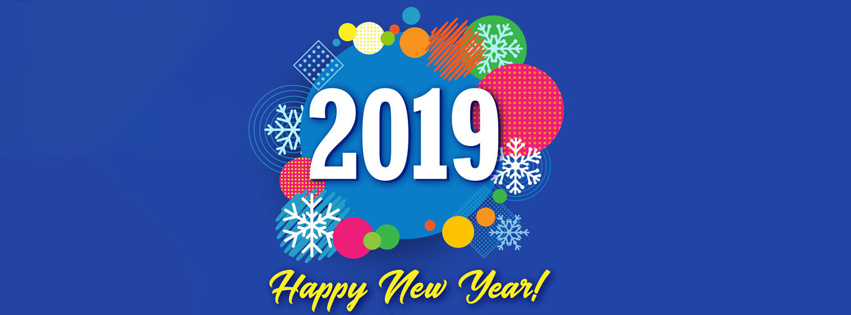 red happy new year 2019 banners with cute wishes
