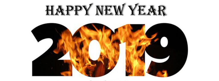 Powerful New Year 2019 Facebook Cover burning image